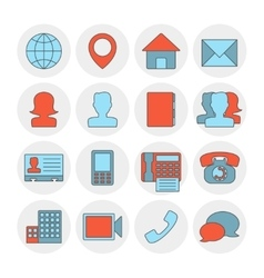 Contact outline icons flat vector image