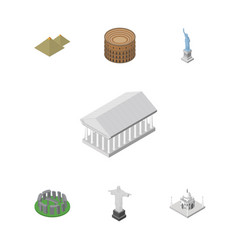 isometric travel set of india mosque coliseum vector image vector image
