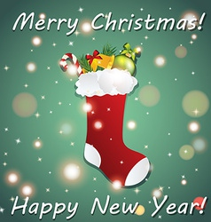 New Year greeting card with Christmas sock for vector image