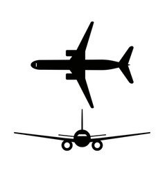 passenger airplanes icons isolated on white vector image vector image