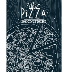 Poster pizza wood blue vector image