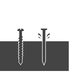 screw and nail driven into the surface vector image vector image