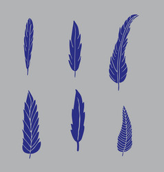 set of hand drawn blue feathers on grey background vector image