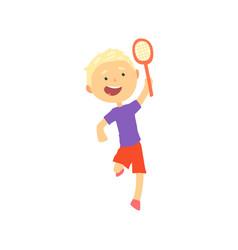 smiling blonde boy playing tennis or badminton vector image vector image