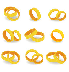 3d set with gold rings in realistic style vector