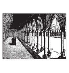 A cloister at a french monastery from the middle vector