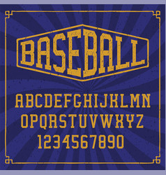 A sports alphabet with a grunge effect vector