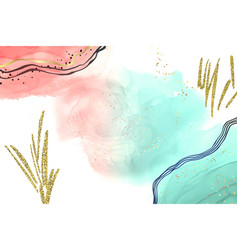 abstract pink and turquoise liquid watercolor vector image