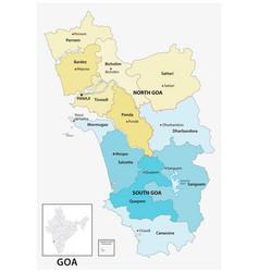 Administrative map goa india vector