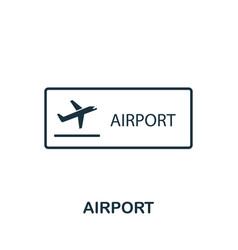 airport outline icon thin style design from city vector image
