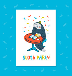 Animal party lazy sloth party cute sloth sitting vector
