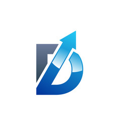 arrow blue letter d and b logo symbol icon design vector image