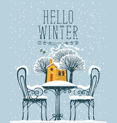 Banner with snow-covered outdoor cafe and house vector