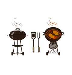 barbecue bbq logo or label brazier food vector image