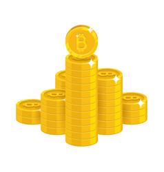 bitcoin golden stack vector image