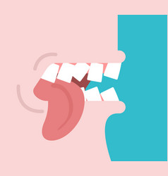 bite tongue clench your teeth shut up vector image