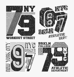 brooklyn new york vintage t shirt stamp set vector image