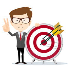 Business man holding a dart board with a direct vector