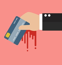 Businessman Bloody Hand Holding Credit Card vector image