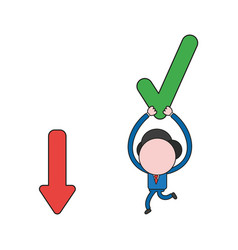 Businessman character running and carrying check vector