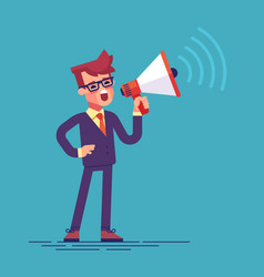 Businessman holding megaphone and shouting vector