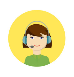 call center girl operator vector image