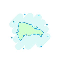 Cartoon dominican republic map icon in comic vector