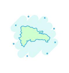 cartoon dominican republic map icon in comic vector image
