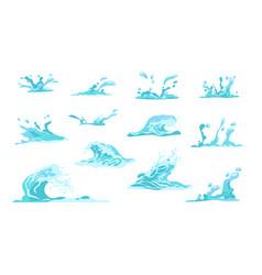 cartoon water splash flowing wave drop or crown vector image