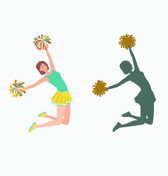 cheerleader with pom-poms and her silhouette vector image