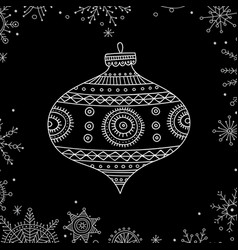 christmas tree decoration bauble line art vector image