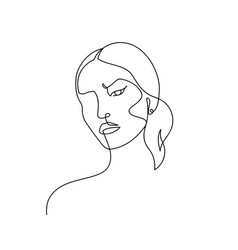 Continuous line abstract female portrait hand vector