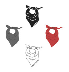 cowboy scarf icon cartoonblack singe western vector image
