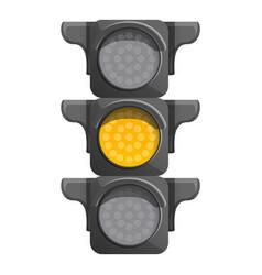 Crossroad semaphore yellow light icon cartoon vector