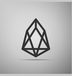 cryptocurrency coin eos icon isolated on grey vector image