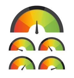 Customer satisfaction meter speedometer set vector