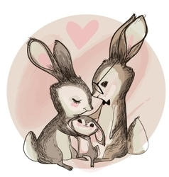 Cute hare family vector