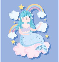 cute little mermaid sitting on cloud rainbows vector image