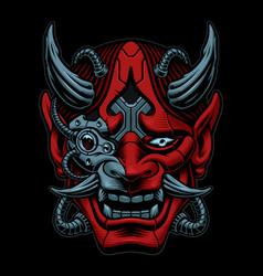 cyberpunk samurai isolated on dark background vector image