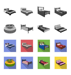different beds monochromeflat icons in set vector image