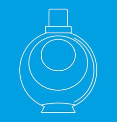 Elegant woman perfume round glass bottle icon vector