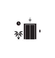 elevator entrance black concept icon vector image