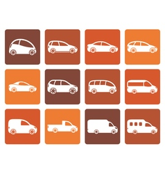 Flat different types of cars icons vector