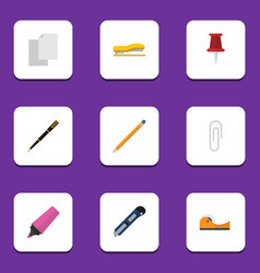 Flat icon stationery set of sticky drawing tool vector