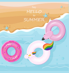 floating toys at beach top view summer vector image