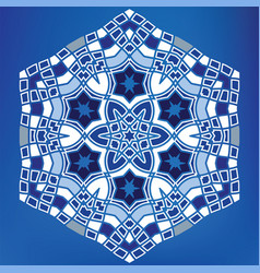 Geometric arabic hexagonal mosaic tile ornament vector