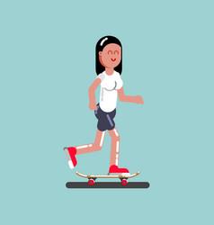 girl skater skating vector image