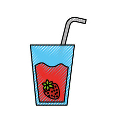 glass cup of juice strawberry with straw beverage vector image