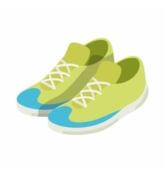 Green sneakers icon isometric 3d style vector image