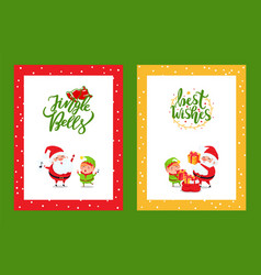greeting framed cards with christmas characters vector image